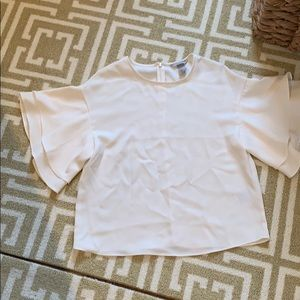 H&M cream blouse with short bell sleeve size 2